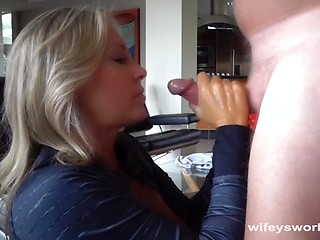 Mature woman swallows cum
